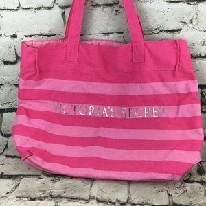 Victorias Secret Shoulder Bag Pink Striped Tote